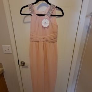 Bow Dream Long Pink Dress with Rhinestones
